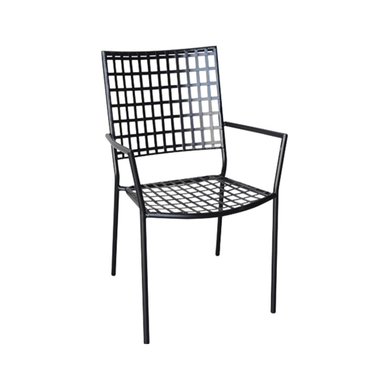 Μεταλλική Πολυθρόνα με μπράτσα Castello Μαύρη