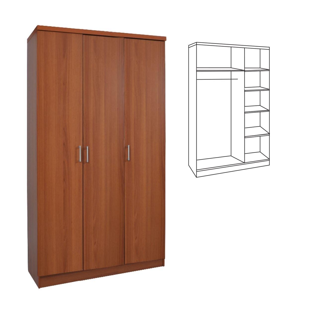 Τρίφυλλη ντουλάπα ρούχων 90cm με σωλήνα για κρεμάστρες και ράφια Decon Κερασί E824,2
