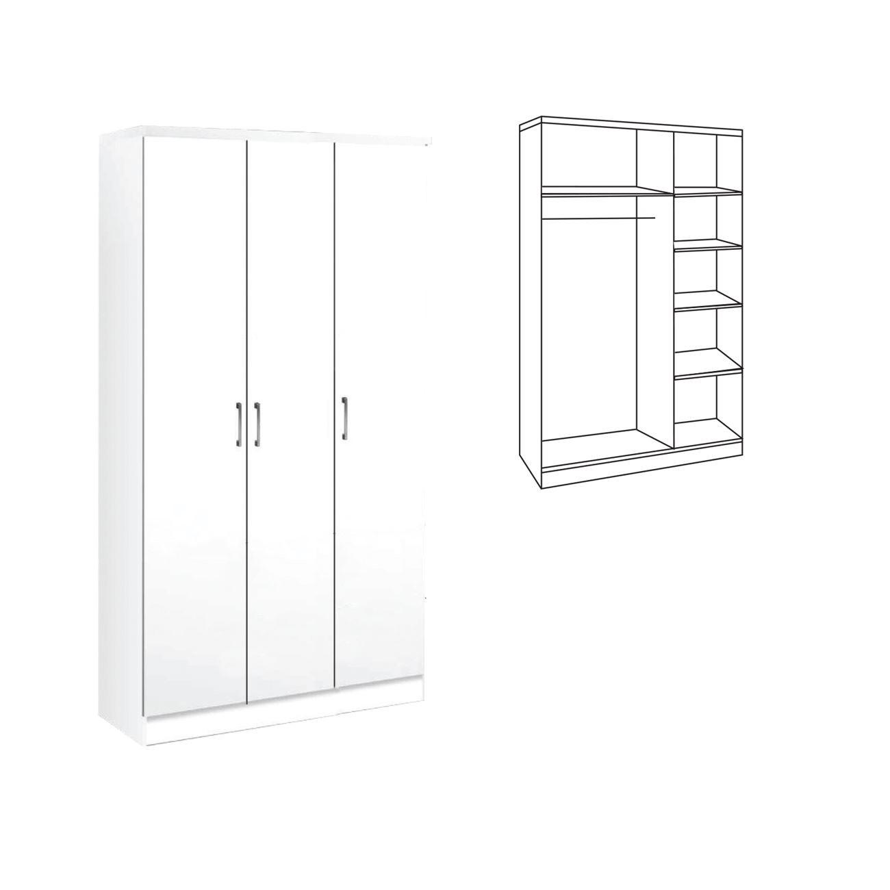 Τρίφυλλη ντουλάπα ρούχων 90cm με σωλήνα για κρεμάστρες και ράφια Decon Λευκό E824