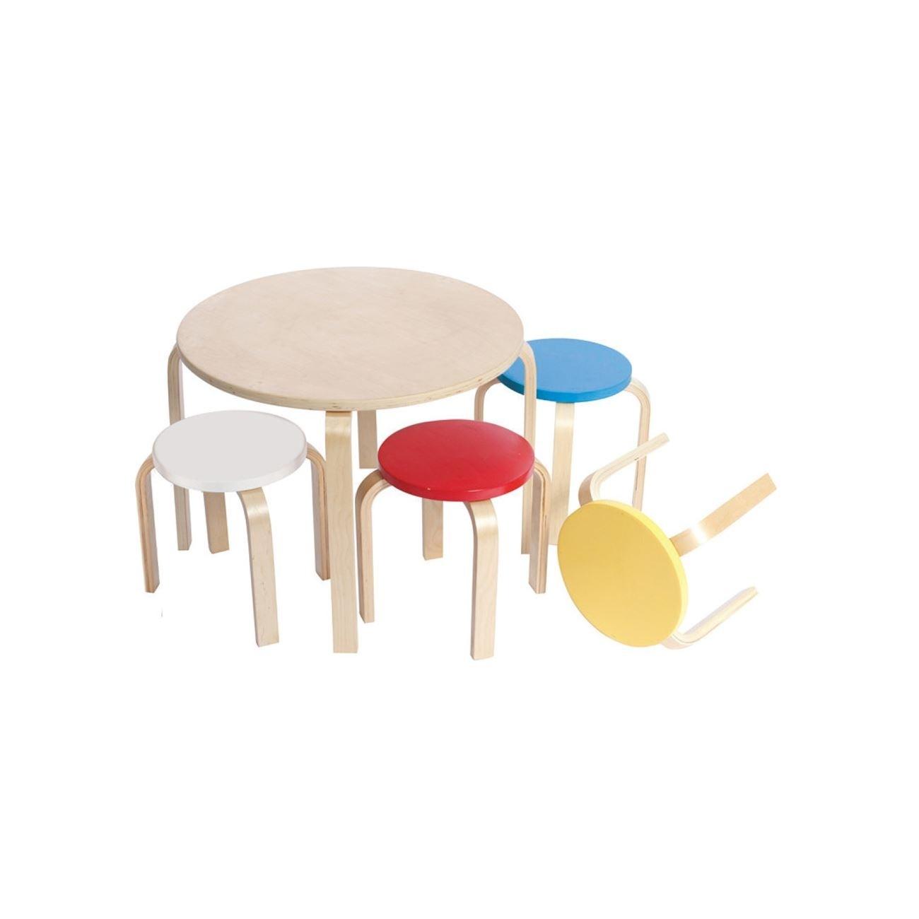 Παιδικό σετ Ξύλινο τραπέζι και 4 σκαμπό Πολύχρωμο E7203,S