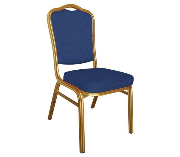 Μεταλλική καρέκλα Hilton σκελετός χρυσός με μπλε ύφασμα EM513,2
