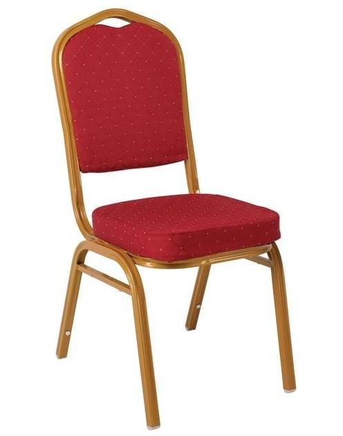 Μεταλλική καρέκλα Hilton σκελετός χρυσός με κόκκινο ύφασμα EM513