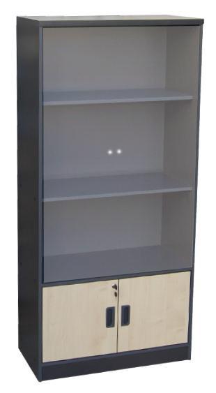 Βιβλιοθήκη γραφείου με γυάλινες πόρτες A-Series Beech