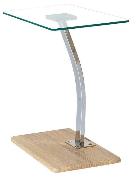 Γυάλινο βοηθητικό τραπέζι 30x50cm με μεταλλικό σκελετό σε χρώμιο Laptop Solid Σημύδα - Διάφανο