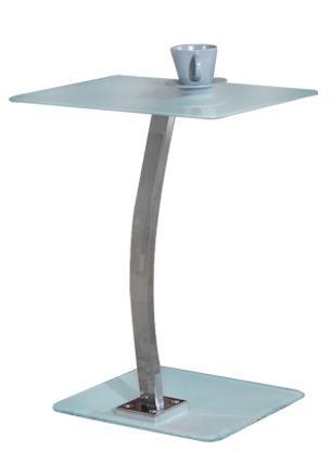 Γυάλινο βοηθητικό τραπέζι 30x50cm με μεταλλικό σκελετό σε χρώμιο Laptop Solid Αμμοβολής