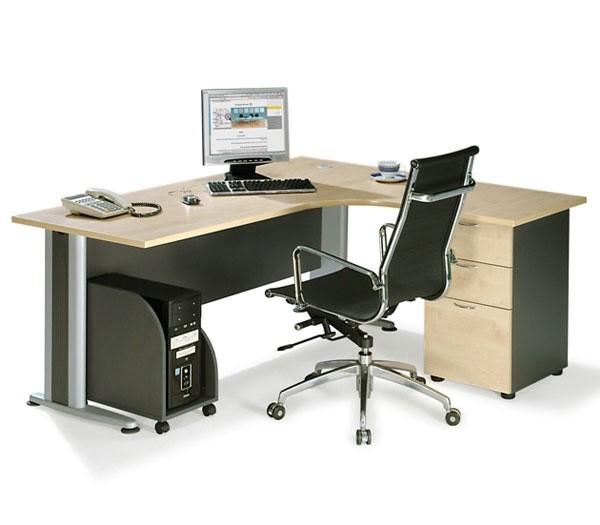 Επαγγελματικό γραφείο μελαμίνης με μεταλλικά πόδια δεξιά γωνία E-series Beech 180x150cm
