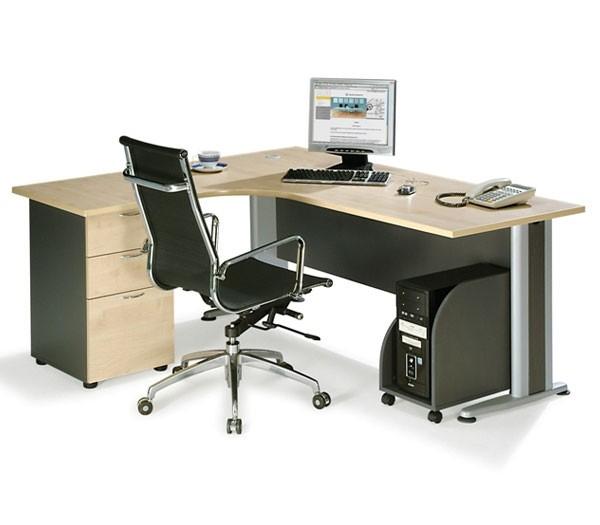 Επαγγελματικό γραφείο μελαμίνης με μεταλλικά πόδια αριστερή γωνία E-series Beech 180x150cm