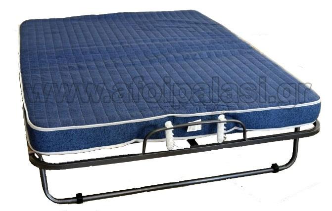 Σπαστό κρεβάτι - Πτυσσόμενο κρεβάτι Ιταλίας με τάβλες και στρώμα 10cm Veraflex Luxor 140x190cm