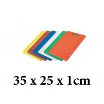 Πλάκα κοπής πολυαιθυλενίου με χειρολαβή και περιμετρικό αυλάκι Taurus 35x25x1cm - σε 5 χρώματα