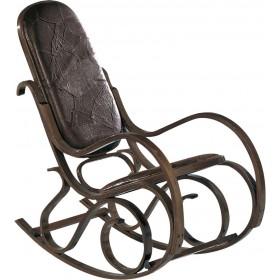 Κουνιστή πολυθρόνα καρυδί με τεχνόδερμα Καφέ