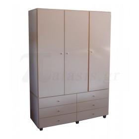Τρίφυλλη ντουλάπα ρούχων με συρτάρια 137