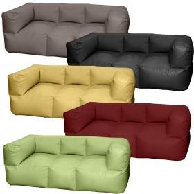 Τριθέσιος καναπές πουφ Fantasy με Δερματίνη μονόχρωμος σε 20 χρώματα