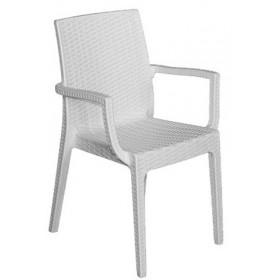 Στοιβαζόμενη πλαστική πολυθρόνα Areta Dafne Λευκή