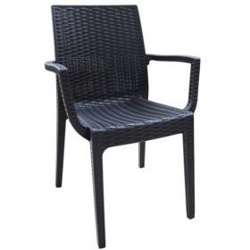 Στοιβαζόμενη πλαστική πολυθρόνα Areta Dafne Ανθρακί
