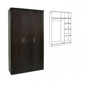 Τρίφυλλη ντουλάπα ρούχων 90cm με σωλήνα για κρεμάστρες και ράφια Decon Βένγκε E824,1