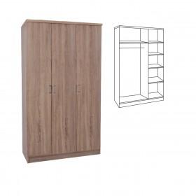 Τρίφυλλη ντουλάπα ρούχων 90cm με σωλήνα για κρεμάστρες και ράφια Decon Sonoma E824,3