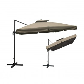 Κρεμαστή ομπρέλα αλουμινίου τετράγωνη 3x3m με ύφασμα Polyester 250gr σε Μπεζ