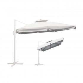 Κρεμαστή ομπρέλα αλουμινίου τετράγωνη 3x3m με ύφασμα Polyester 250gr σε Λευκό