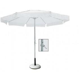 Στρογγυλή ομπρέλα αλουμινίου Ø2m με γρύλο Λευκό