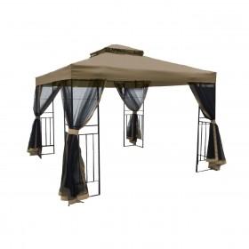 Μεταλλικό κιόσκι Gazebo 3x3m ύφασμα Μπεζ-Μαύρο 180gr/m² με σίτες