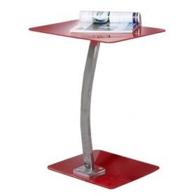 Γυάλινο βοηθητικό τραπέζι 30x50cm με μεταλλικό σκελετό σε χρώμιο Laptop Solid Κόκκινο