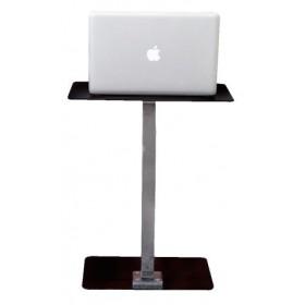Γυάλινο βοηθητικό τραπέζι 30x50cm με μεταλλικό σκελετό σε χρώμιο Laptop Solid Μαύρο