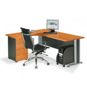 Επαγγελματικό γραφείο μελαμίνης με μεταλλικά πόδια αριστερή γωνία E-series Cherry 180x150cm
