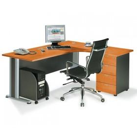 Επαγγελματικό γραφείο μελαμίνης με μεταλλικά πόδια δεξιά γωνία E-series Cherry 180x150cm