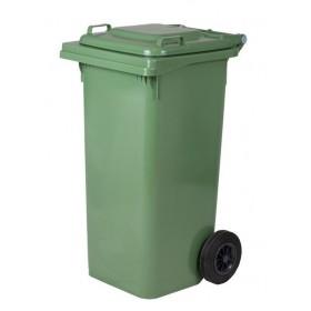 Πλαστικός κάδος απορριμάτων με ρόδες σε Πράσινο 240lt