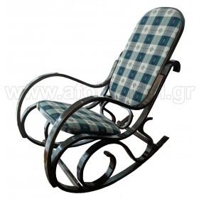 Κουνιστή πολυθρόνα καρυδί με ύφασμα σε Μπλε