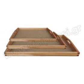 Ξύλινος δίσκος εστιατορίου με φελλό και λαβές σε 3 μεγέθη από