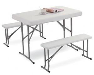 Τραπέζι βαλίτσα πτυσσόμενο με δύο πάγκους