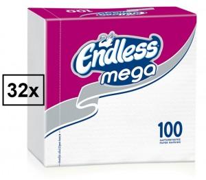 Χαρτοπετσέτες Endless Mega Λευκή 33x33cm Κούτα 32τμχ