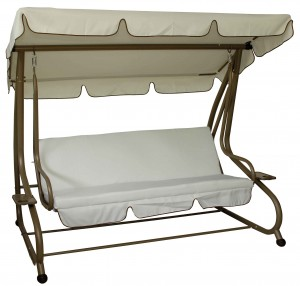 Τριθέσια μεταλλική κούνια κρεβάτι Εκρού Μπρονζέ
