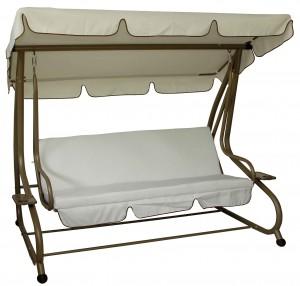 Τριθέσια μεταλλική κούνια κρεβάτι Εκρού Ανθρακί