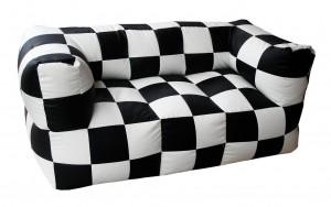 Τριθέσιος καναπές πουφ Fantasy Σκακιέρα