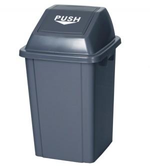 Πλαστικός κάδος με παλλόμενο καπάκι Push Γκρι 100lt