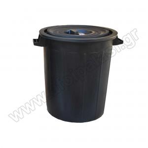 Πλαστικός κάδος απορριμάτων με χειρολαβές Μαύρος 100lt 601012