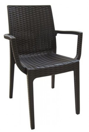 Στοιβαζόμενη πλαστική πολυθρόνα Areta Dafne Καφέ