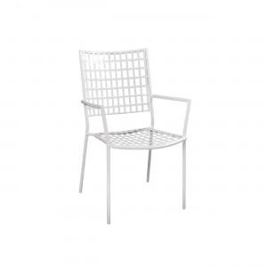 Μεταλλική Πολυθρόνα με μπράτσα Castello Λευκή
