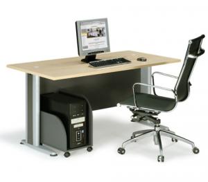 Επαγγελματικό γραφείο μελαμίνης με μεταλλικά πόδια E-series Beech 150cm