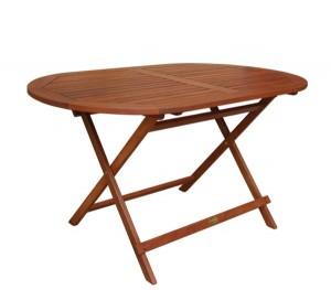 Ξύλινο πτυσσόμενο τραπέζι κήπου Keruing Easy-K 120x70cm Oval