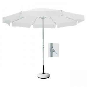 Στρογγυλή ομπρέλα αλουμινίου Ø3m με γρύλο Λευκή