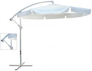 Κρεμαστή Ομπρέλα αλουμινίου Ø3m με γρύλο και ύφασμα Polyester 180gr σε Λευκό