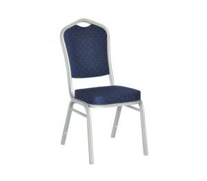Μεταλλική καρέκλα Hilton σκελετός Ασημί με Μπλε Ύφασμα EM513,3
