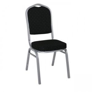Μεταλλική καρέκλα Hilton σκελετός Ασημί με Μαύρο Ύφασμα EM513,4