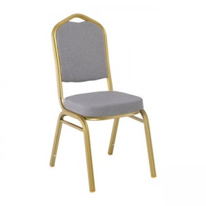 Μεταλλική καρέκλα Hilton σκελετός Yellow Gold με Γκρι ύφασμα EM513,6