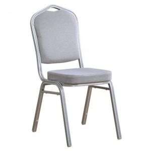 Μεταλλική καρέκλα Hilton σκελετός Ασημί με Γκρι Ύφασμα EM513,8