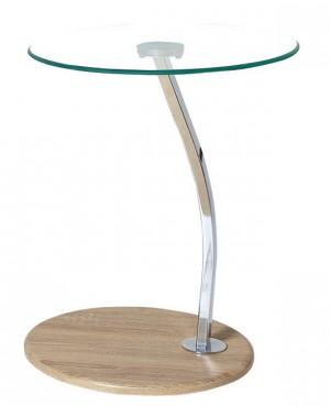 Γυάλινο βοηθητικό τραπέζι Ø45cm με μεταλλικό σκελετό σε χρώμιο Laptop Solid Σημύδα - Διάφανο