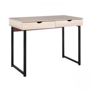 Γραφείο με μεταλλικό σκελετό με 2 συρτάρια 100x48cm Maple